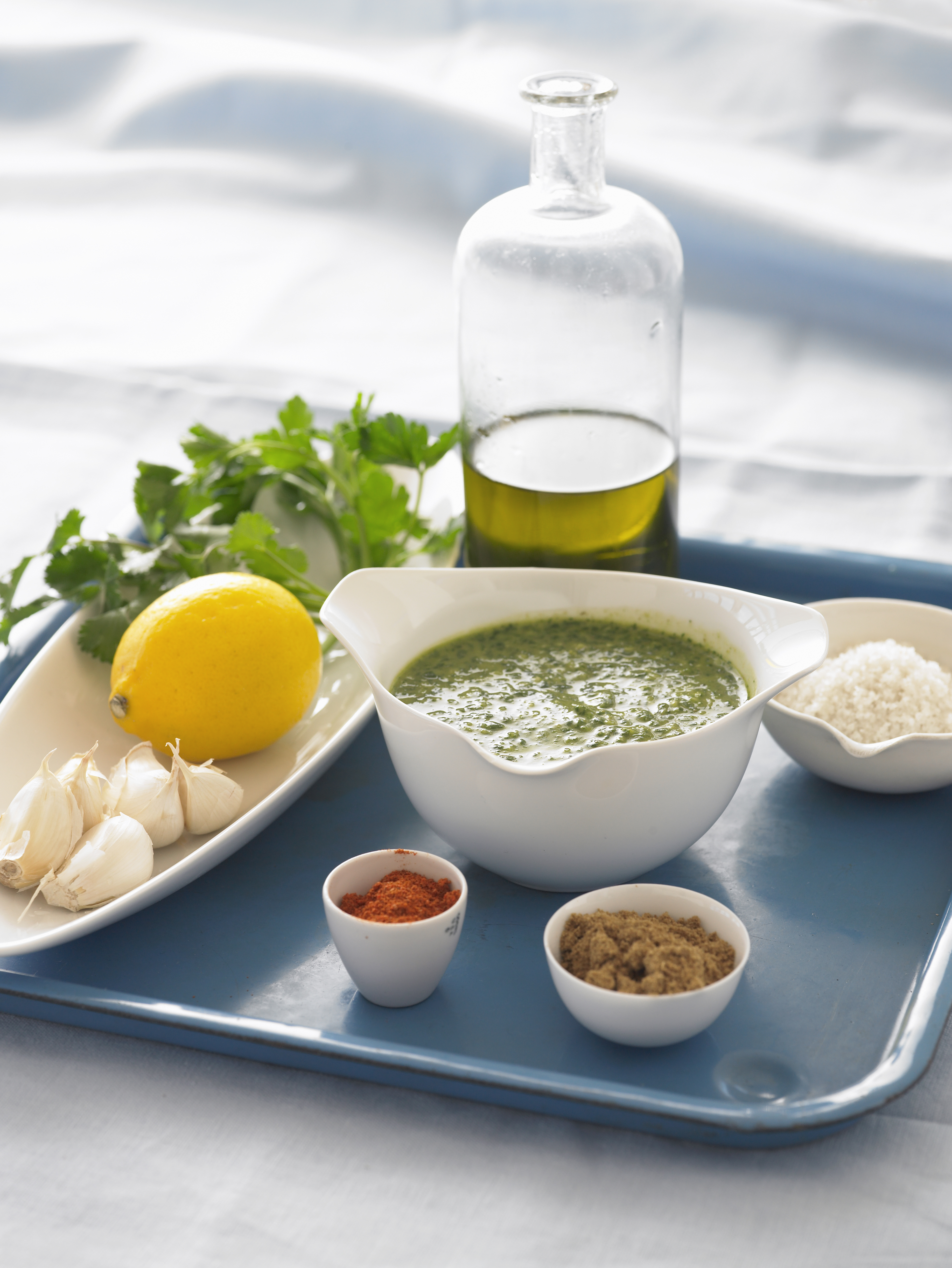 Moroccan Chermoula Sauce with Ingredients