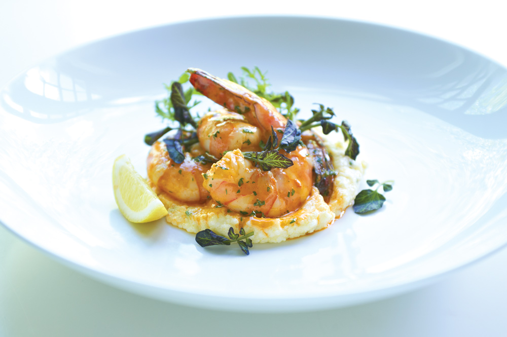 grits and prawns