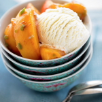 peach ice cream in blue Asian bowls