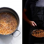 pot of beans, man cooking