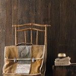 chair, vintage book bag, books
