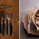 antique forks, dried pear, cutting board