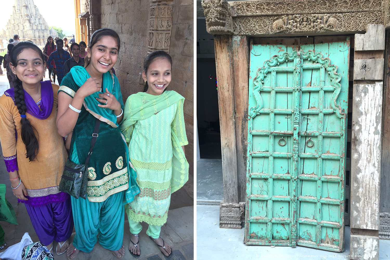 Indian-girls-and-green-door